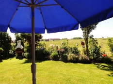 Blick von der Terrasse vom Ferienhaus Kolks Huus Carolinensiel Harlesiel, einfach schöne Ferien mit Ruhe und freiem Blick auf den Innendeich